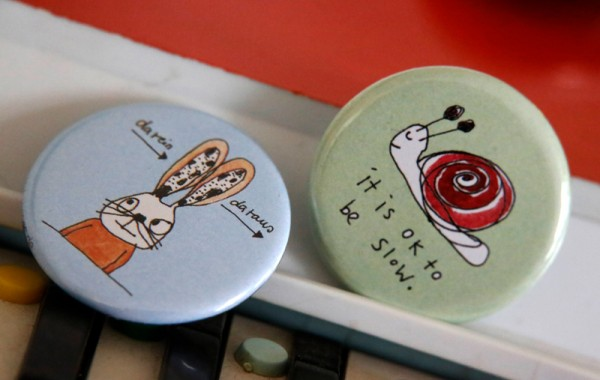 Button - Hase & Schnecke - 2er Set - karindrawings