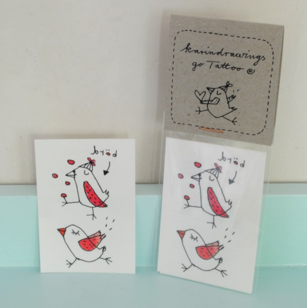 Temporary Tattoos - birds (Börd Motiv) - 2-er Set - karindrawings