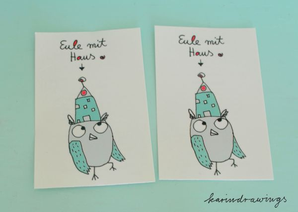 "2-er set temporary tattoos- ""Eule mit Haus"""