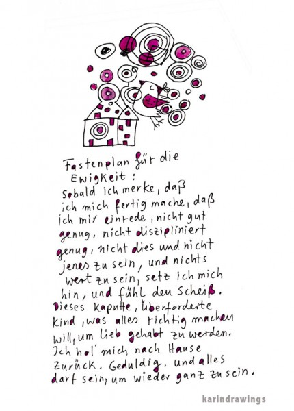 Digitaldruck - Fastenplan - DIN A4 - karindrawings